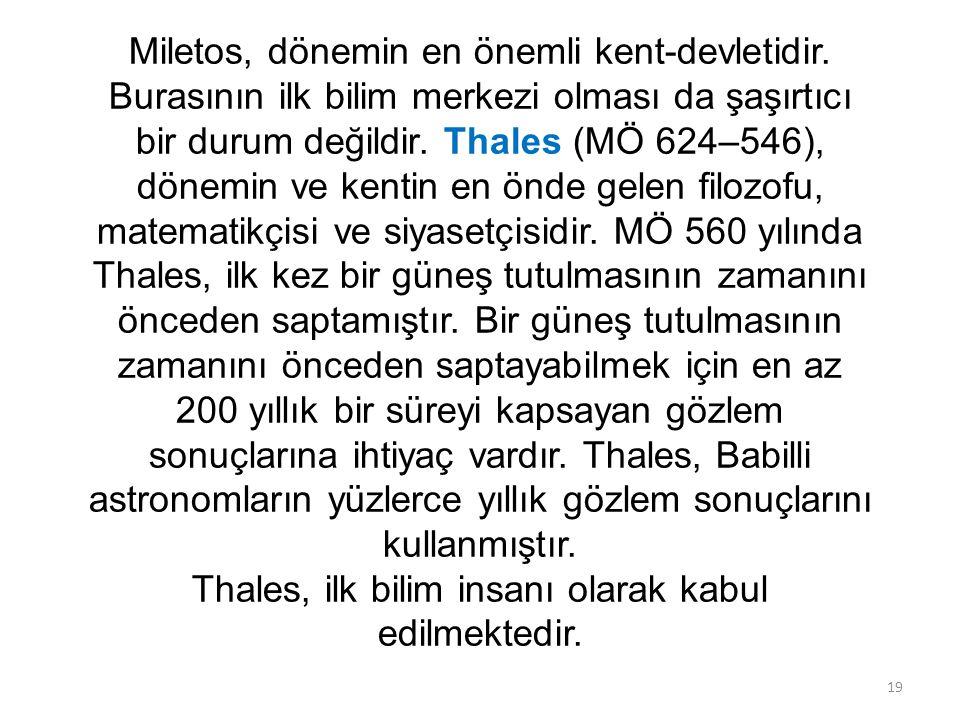 Miletos, dönemin en önemli kent-devletidir