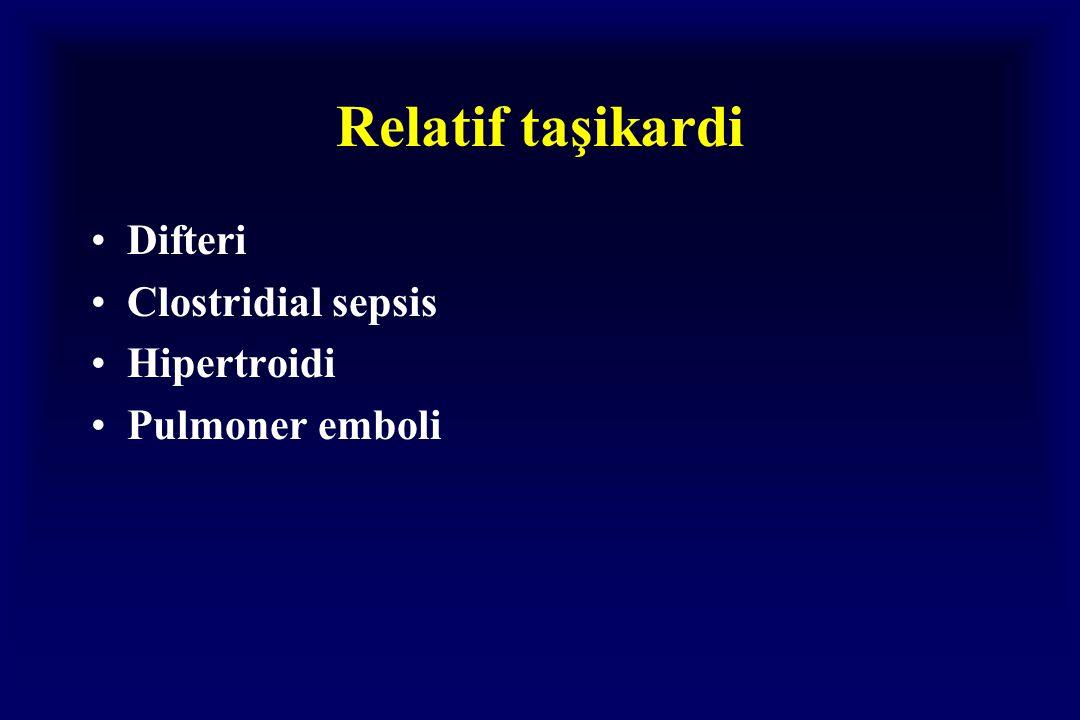 Relatif taşikardi Difteri Clostridial sepsis Hipertroidi