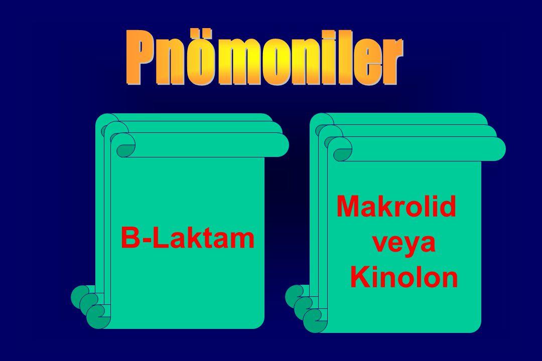 Tipik Atipik Makrolid B-Laktam veya Kinolon Pnömoniler S.pneumoniae