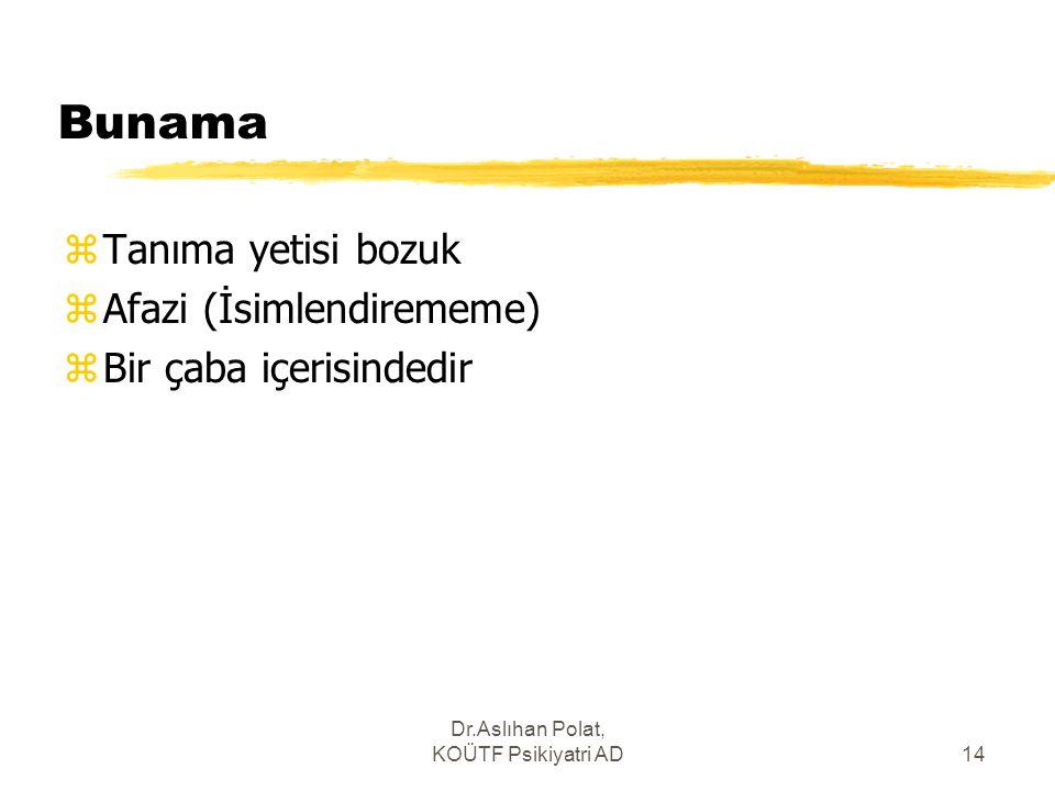Dr.Aslıhan Polat, KOÜTF Psikiyatri AD