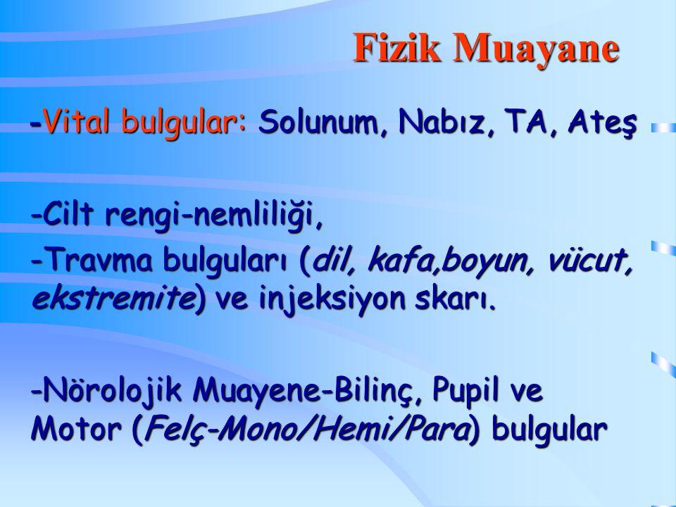 Fizik Muayane -Vital bulgular: Solunum, Nabız, TA, Ateş