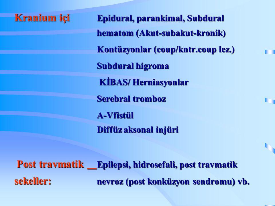 Kranium içi. Epidural, parankimal, Subdural