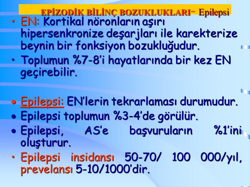 EPİZODİK BİLİNÇ BOZUKLUKLARI- Epilepsi