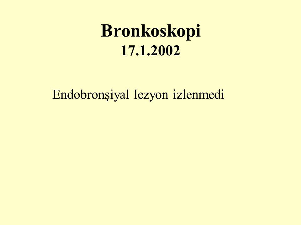 Bronkoskopi 17.1.2002 Endobronşiyal lezyon izlenmedi