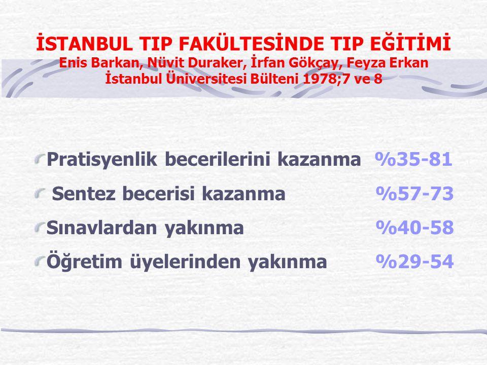 İSTANBUL TIP FAKÜLTESİNDE TIP EĞİTİMİ Enis Barkan, Nüvit Duraker, İrfan Gökçay, Feyza Erkan İstanbul Üniversitesi Bülteni 1978;7 ve 8