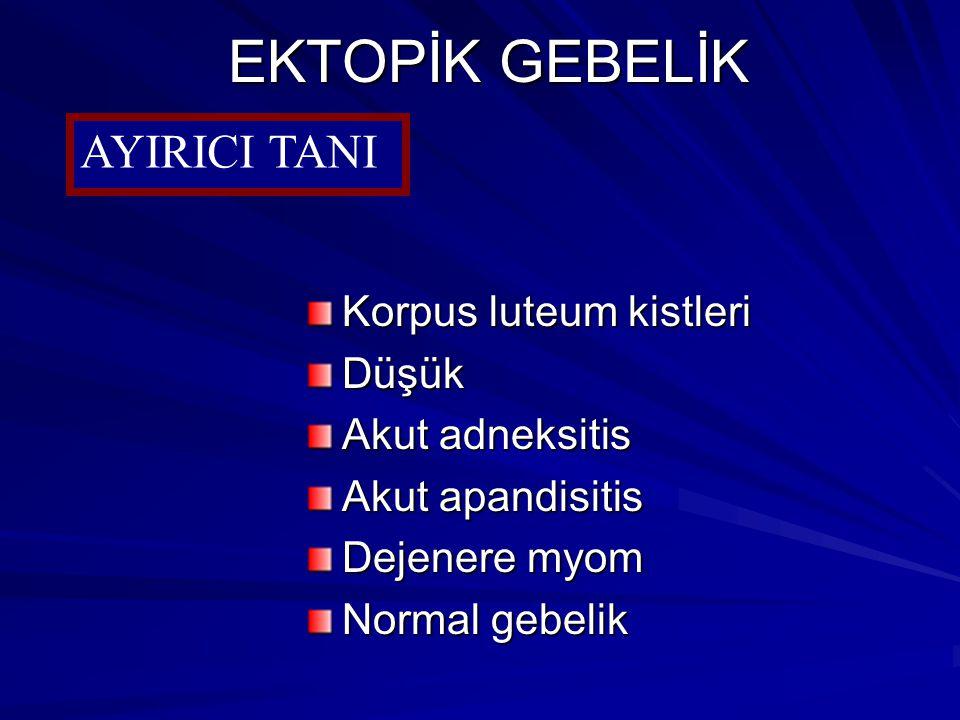 EKTOPİK GEBELİK AYIRICI TANI Korpus luteum kistleri Düşük