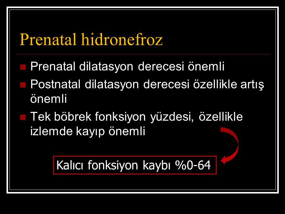Prenatal hidronefroz Prenatal dilatasyon derecesi önemli