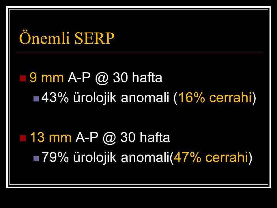 Önemli SERP 9 mm A-P @ 30 hafta 43% ürolojik anomali (16% cerrahi)