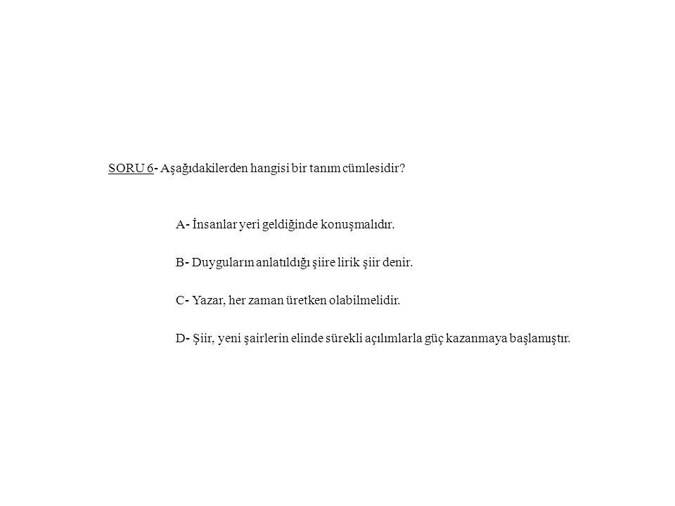 SORU 6- Aşağıdakilerden hangisi bir tanım cümlesidir