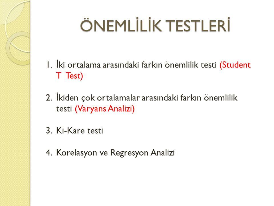 ÖNEMLİLİK TESTLERİ İki ortalama arasındaki farkın önemlilik testi (Student T Test)