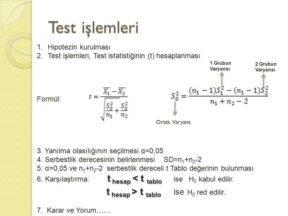 Test işlemleri Hipotezin kurulması