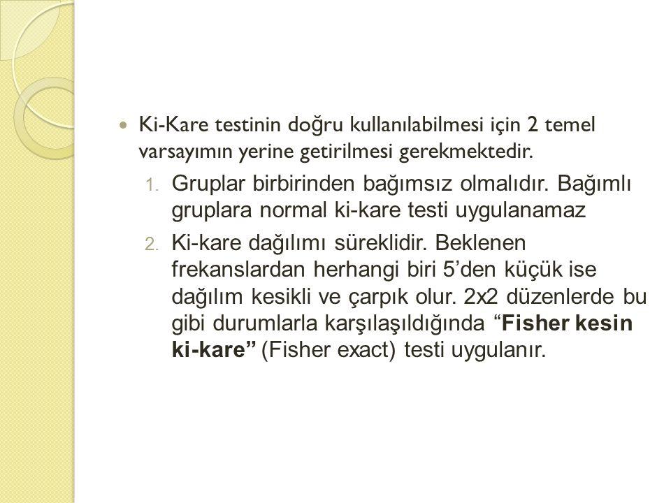 Ki-Kare testinin doğru kullanılabilmesi için 2 temel varsayımın yerine getirilmesi gerekmektedir.