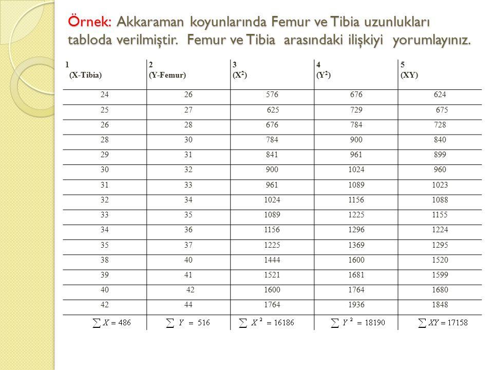 Örnek: Akkaraman koyunlarında Femur ve Tibia uzunlukları tabloda verilmiştir. Femur ve Tibia arasındaki ilişkiyi yorumlayınız.