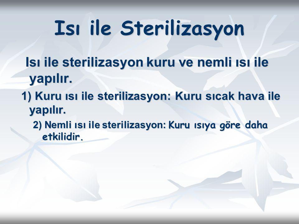 Isı ile Sterilizasyon Isı ile sterilizasyon kuru ve nemli ısı ile yapılır. 1) Kuru ısı ile sterilizasyon: Kuru sıcak hava ile yapılır.