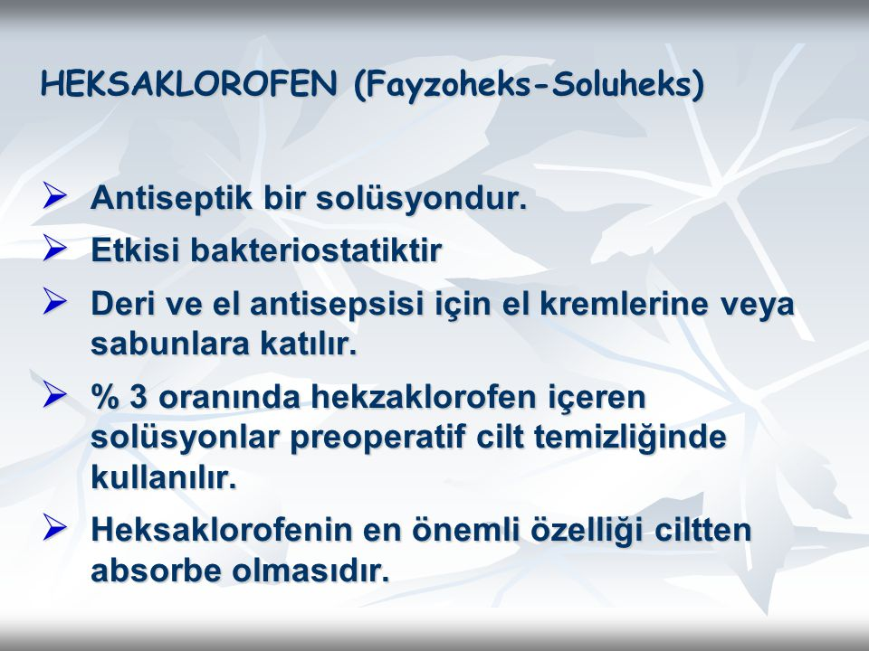 HEKSAKLOROFEN (Fayzoheks-Soluheks)