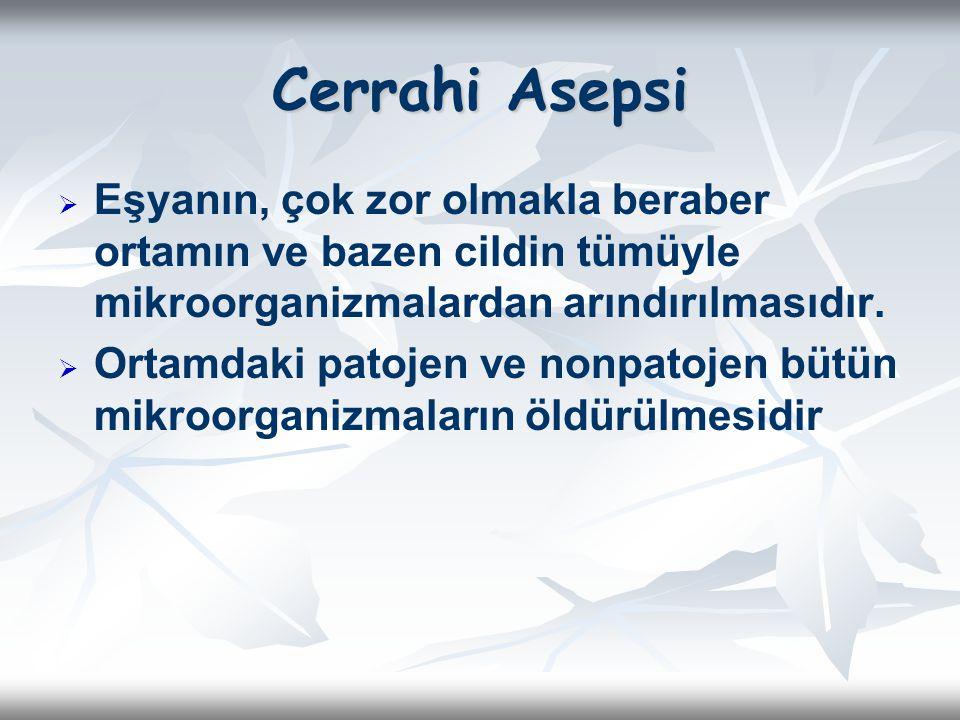 Cerrahi Asepsi Eşyanın, çok zor olmakla beraber ortamın ve bazen cildin tümüyle mikroorganizmalardan arındırılmasıdır.