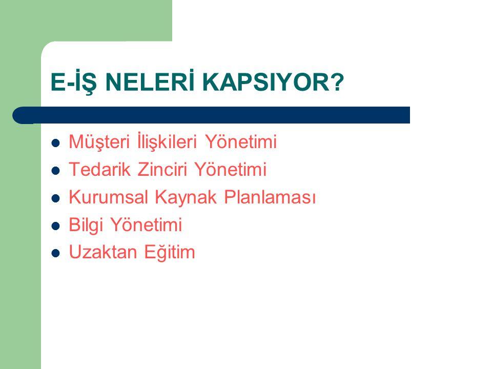 E-İŞ NELERİ KAPSIYOR Müşteri İlişkileri Yönetimi