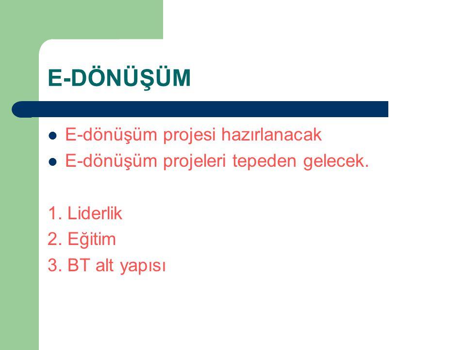 E-DÖNÜŞÜM E-dönüşüm projesi hazırlanacak