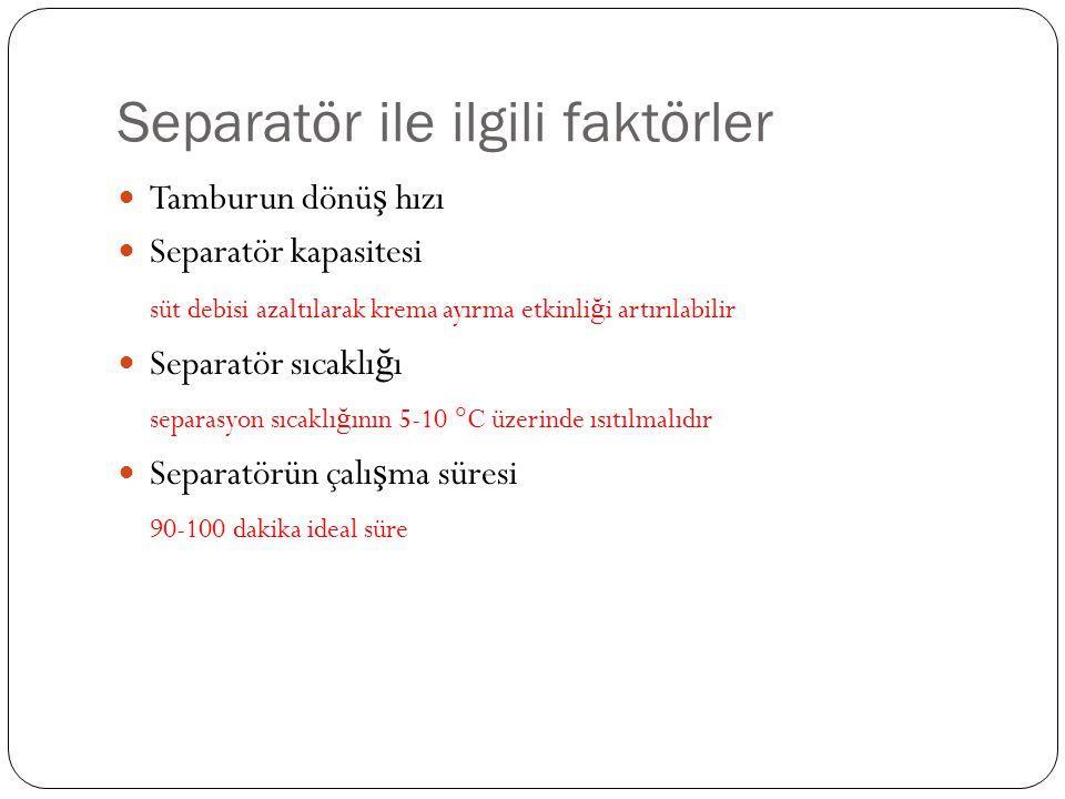 Separatör ile ilgili faktörler