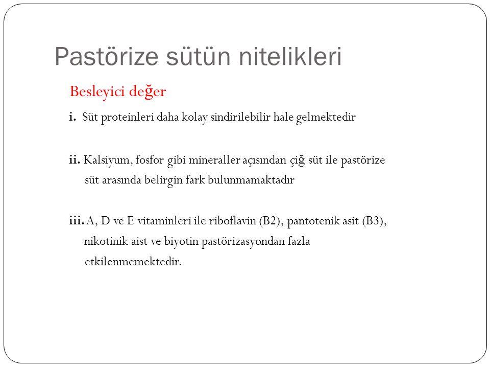 Pastörize sütün nitelikleri