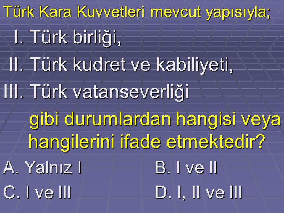 II. Türk kudret ve kabiliyeti, III. Türk vatanseverliği