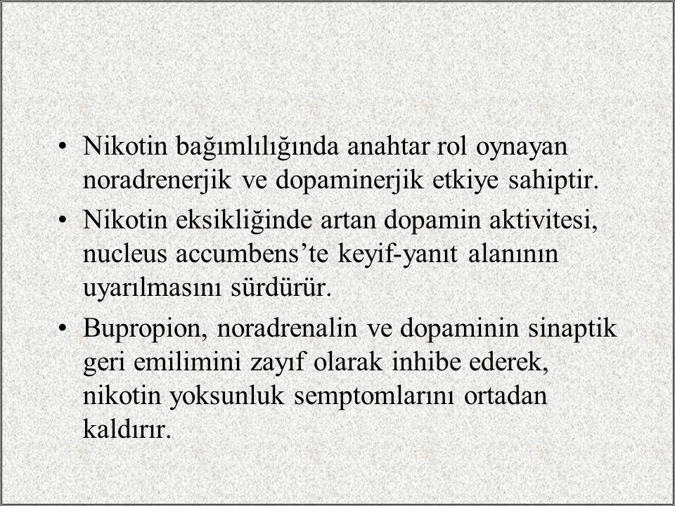 Nikotin bağımlılığında anahtar rol oynayan noradrenerjik ve dopaminerjik etkiye sahiptir.