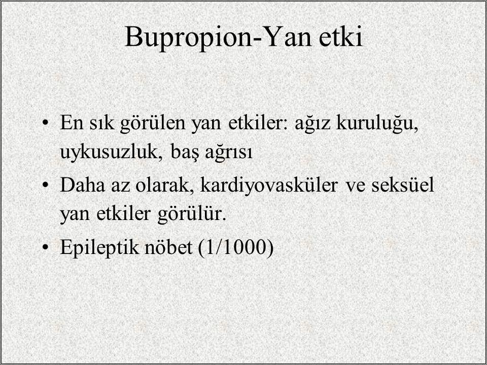 Bupropion-Yan etki En sık görülen yan etkiler: ağız kuruluğu, uykusuzluk, baş ağrısı.
