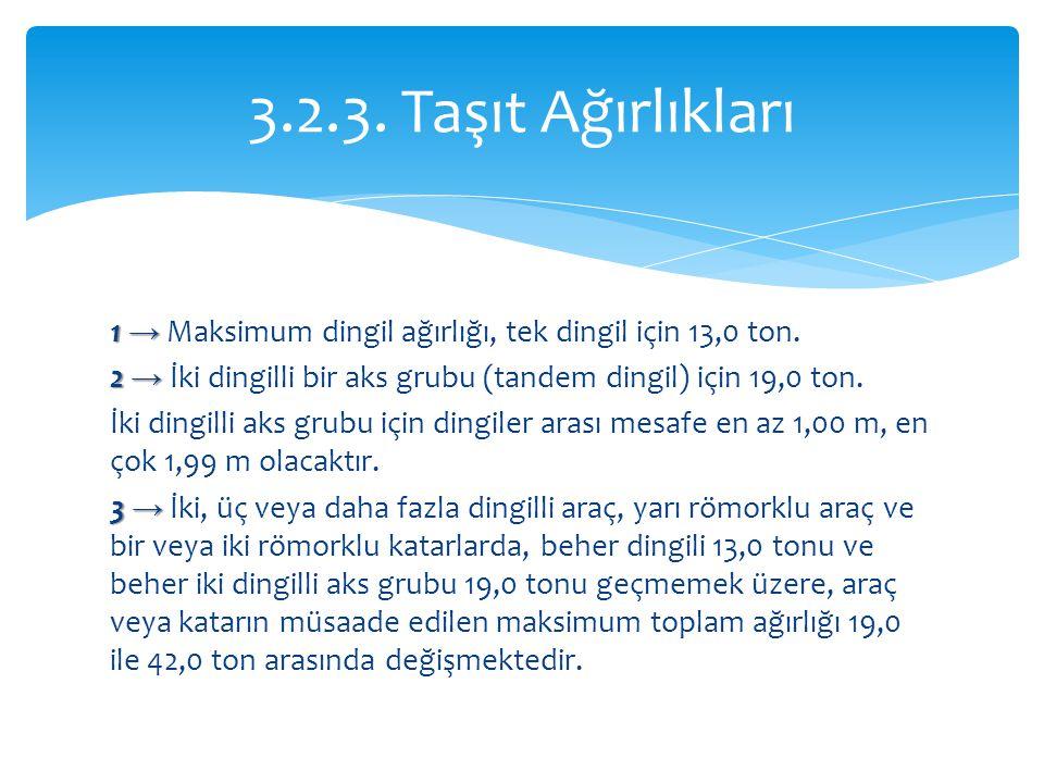 3.2.3. Taşıt Ağırlıkları 1 → Maksimum dingil ağırlığı, tek dingil için 13,0 ton. 2 → İki dingilli bir aks grubu (tandem dingil) için 19,0 ton.