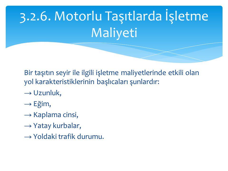 3.2.6. Motorlu Taşıtlarda İşletme Maliyeti