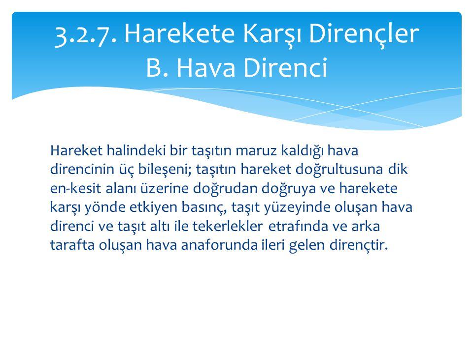 3.2.7. Harekete Karşı Dirençler B. Hava Direnci
