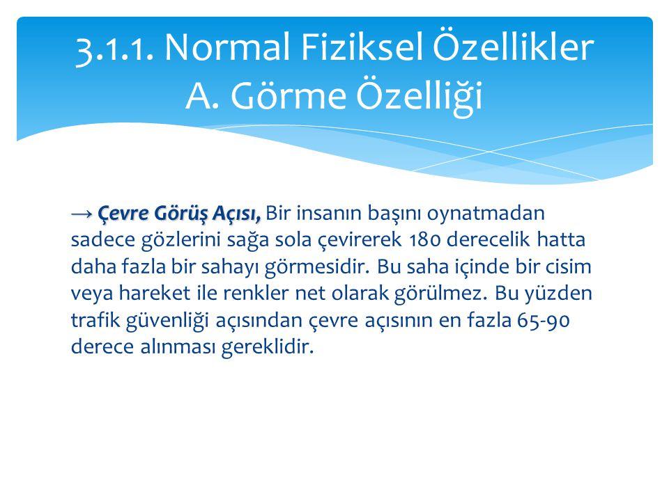 3.1.1. Normal Fiziksel Özellikler A. Görme Özelliği