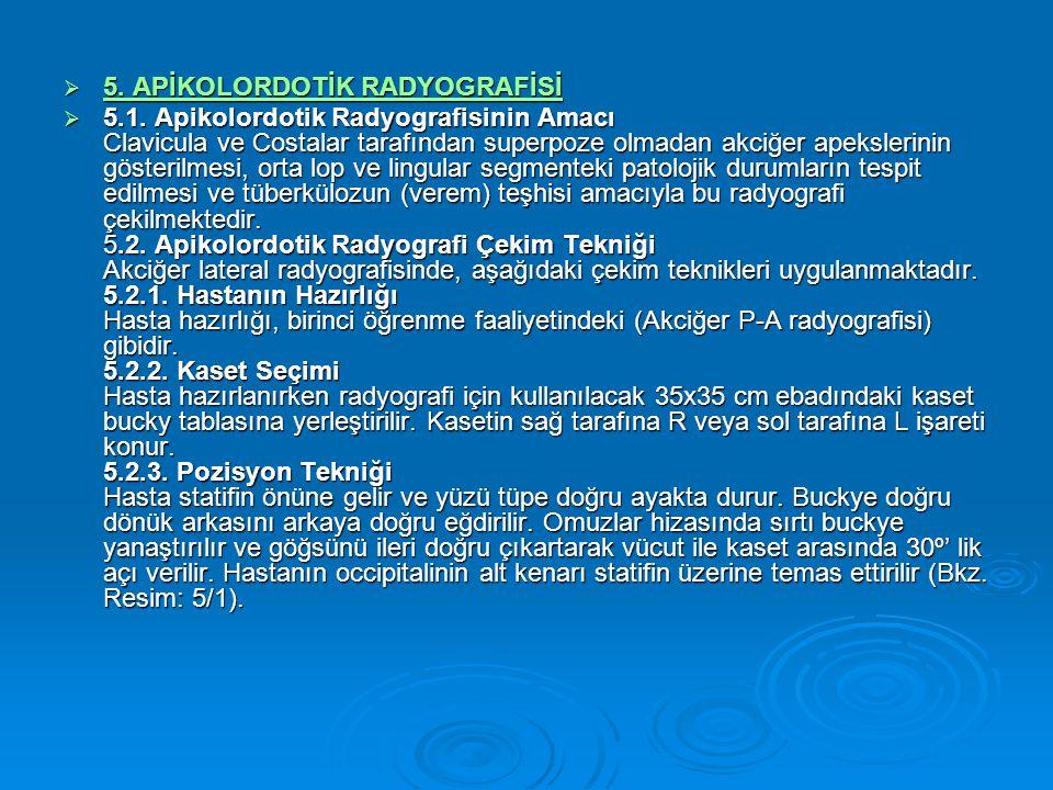 5. APİKOLORDOTİK RADYOGRAFİSİ