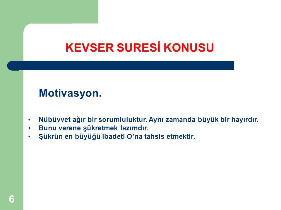 KEVSER SURESİ KONUSU Motivasyon.