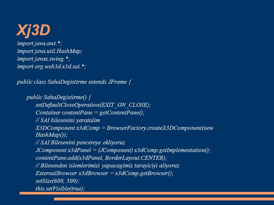 Xj3D import java.awt.*; import java.util.HashMap;