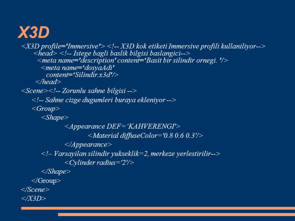 X3D Saha tipleri: initializeOnly, inputOnly, outputOnly, inputOutput