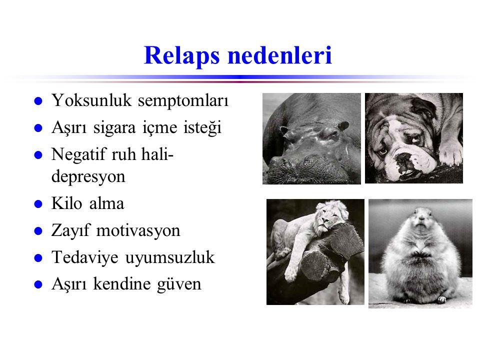 Relaps nedenleri Yoksunluk semptomları Aşırı sigara içme isteği