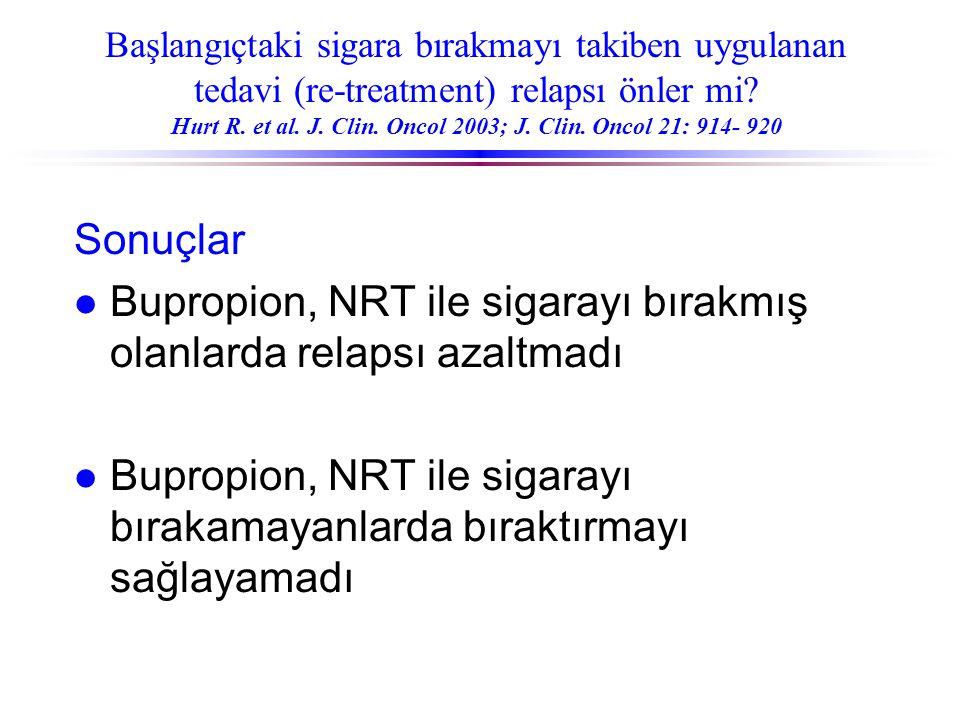 Bupropion, NRT ile sigarayı bırakmış olanlarda relapsı azaltmadı