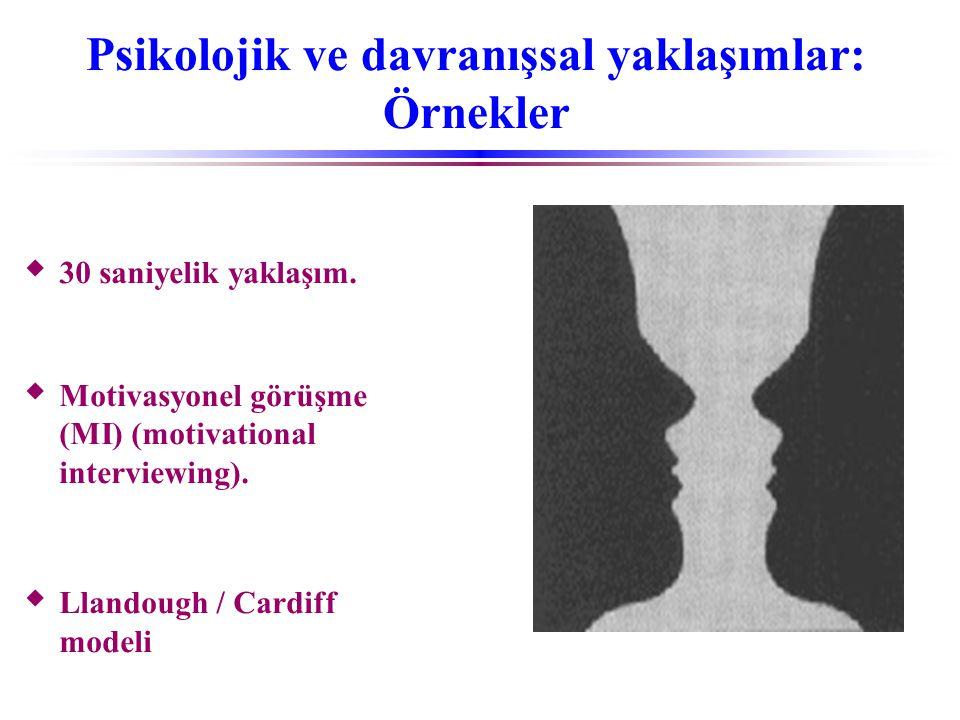 Psikolojik ve davranışsal yaklaşımlar: Örnekler