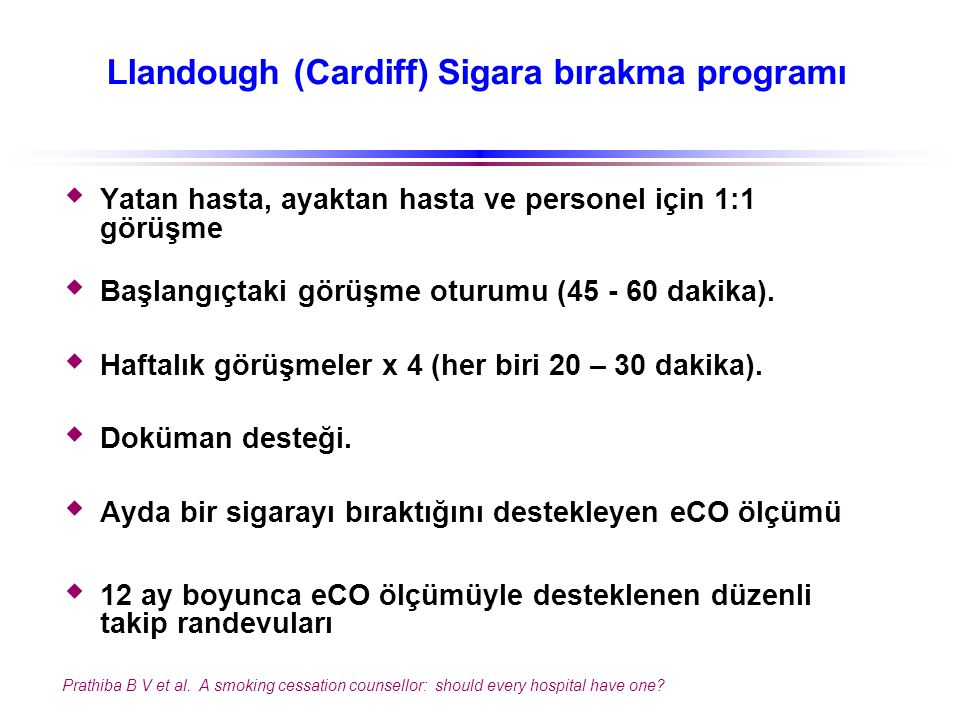 Llandough (Cardiff) Sigara bırakma programı