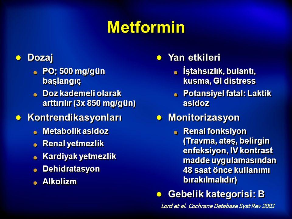Metformin Dozaj Kontrendikasyonları Yan etkileri Monitorizasyon