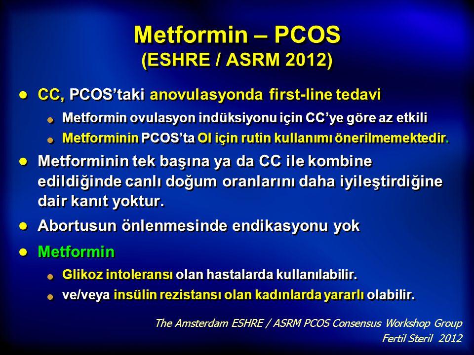 Metformin – PCOS (ESHRE / ASRM 2012)