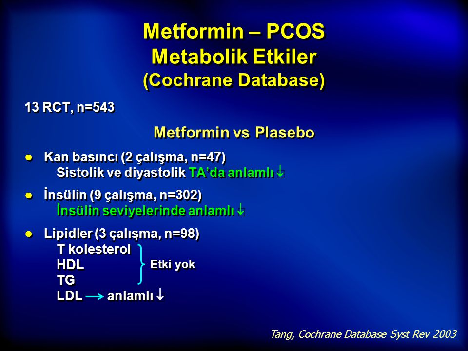 Metformin – PCOS Metabolik Etkiler (Cochrane Database)