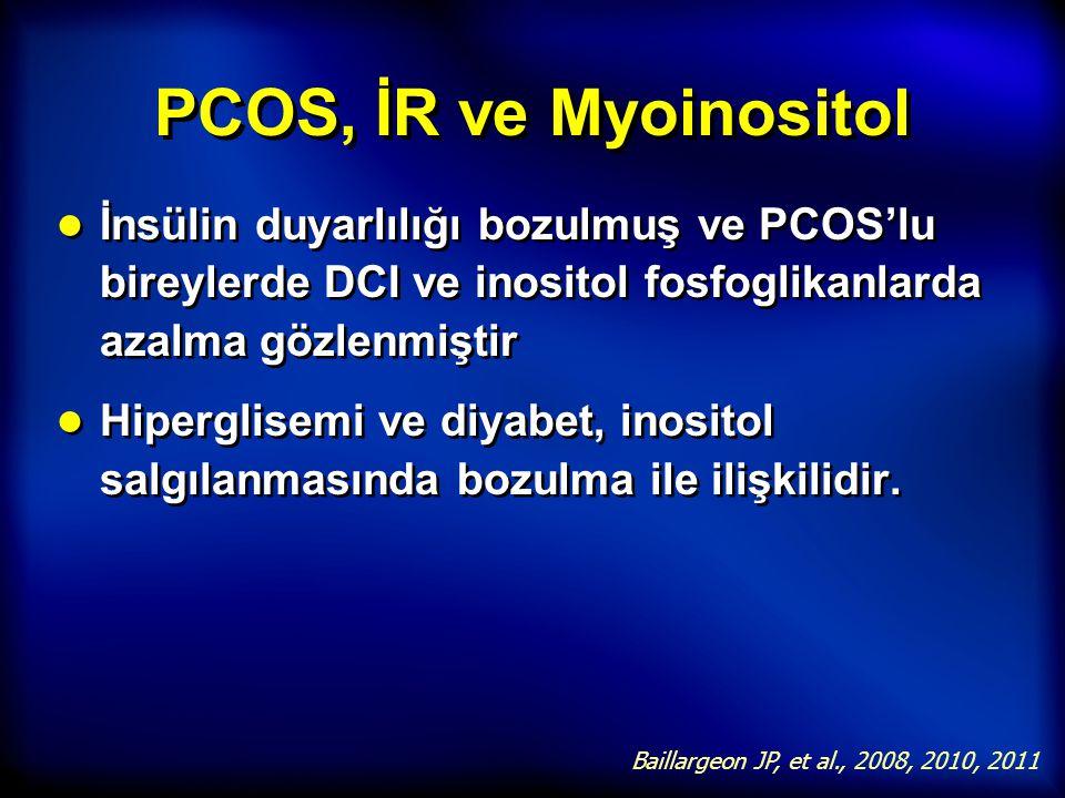 PCOS, İR ve Myoinositol İnsülin duyarlılığı bozulmuş ve PCOS'lu bireylerde DCI ve inositol fosfoglikanlarda azalma gözlenmiştir.