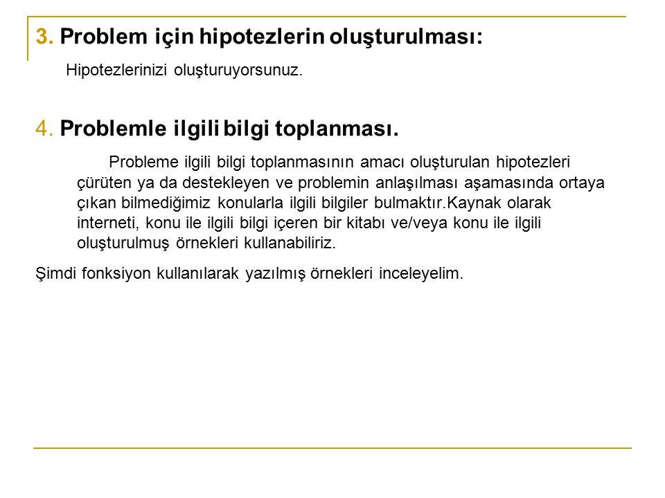 3. Problem için hipotezlerin oluşturulması: