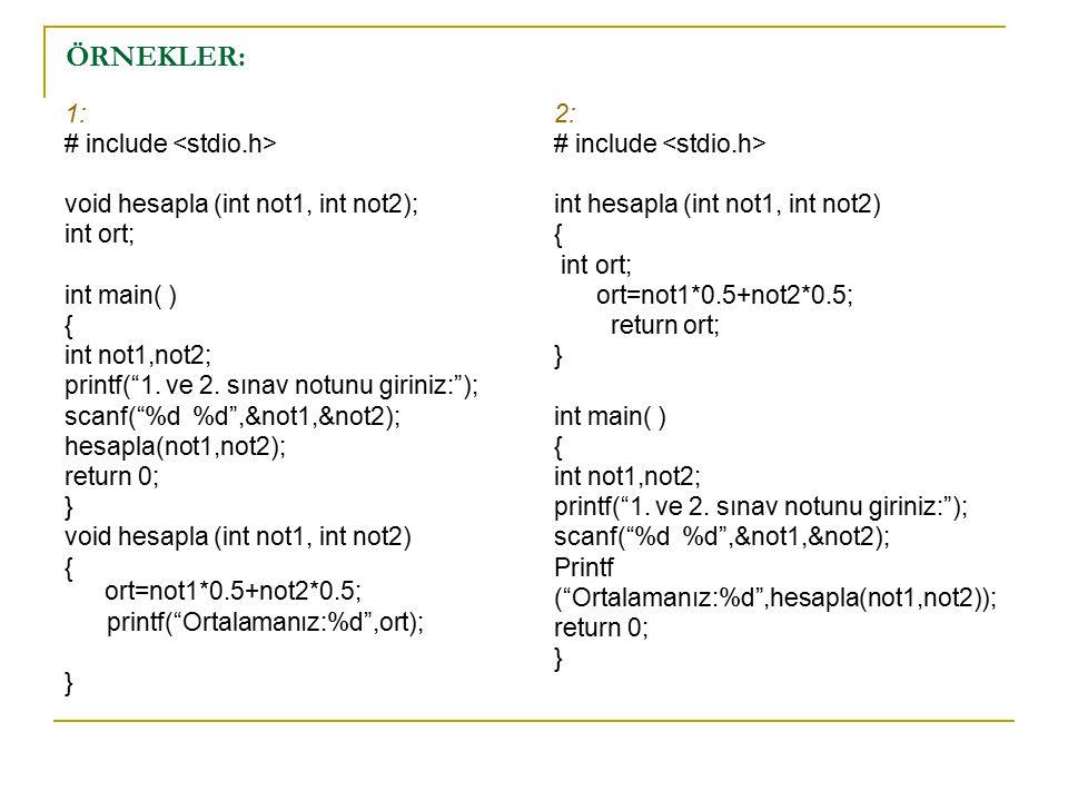 ÖRNEKLER: 1: # include <stdio.h>