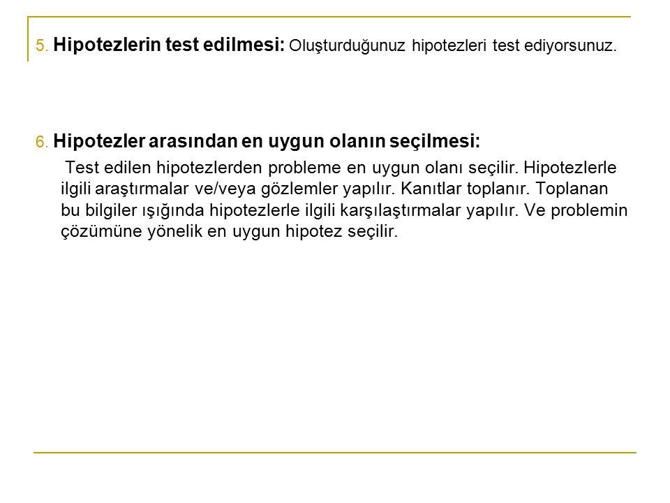 5. Hipotezlerin test edilmesi: Oluşturduğunuz hipotezleri test ediyorsunuz.