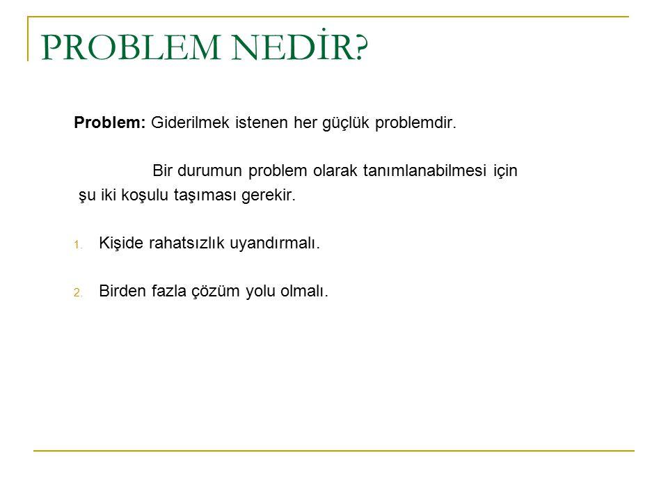 PROBLEM NEDİR Problem: Giderilmek istenen her güçlük problemdir.