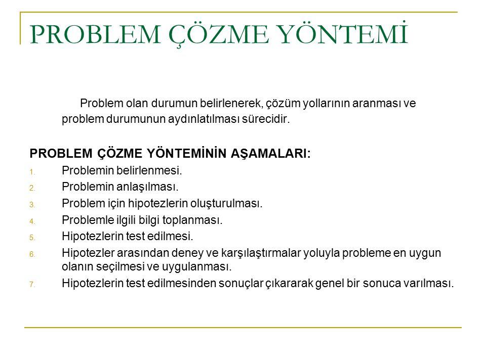 PROBLEM ÇÖZME YÖNTEMİ Problem olan durumun belirlenerek, çözüm yollarının aranması ve problem durumunun aydınlatılması sürecidir.