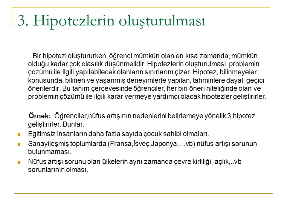 3. Hipotezlerin oluşturulması