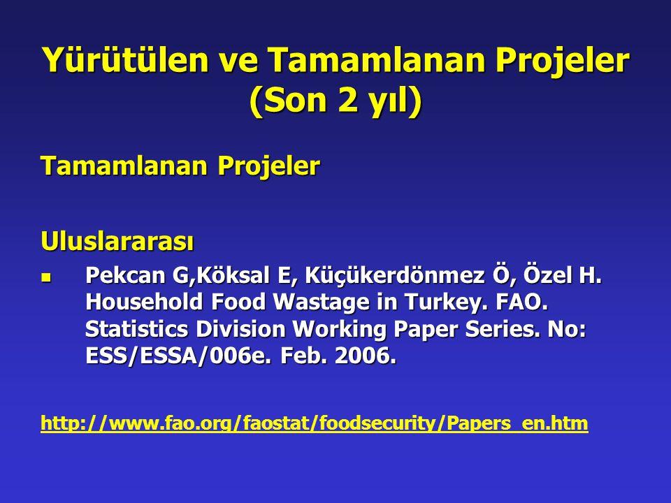 Yürütülen ve Tamamlanan Projeler (Son 2 yıl)